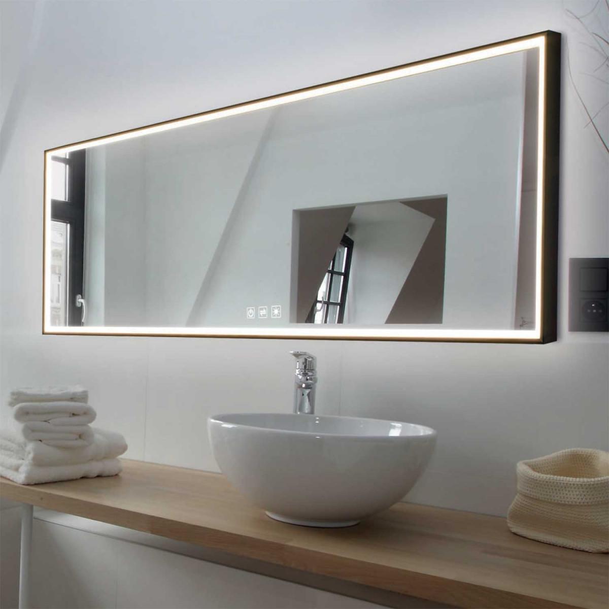 Picture of: Lumen Light Spejl Med Lys Ved Rammen Lampefeber